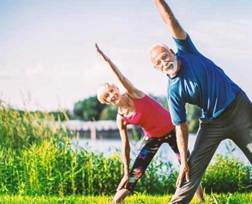 Two seniors managing diabetes through exercise