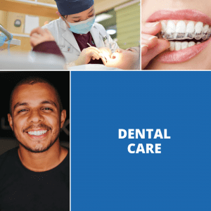 A collage of senior dental care services