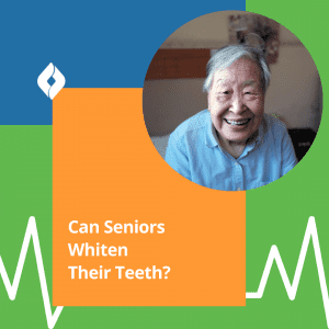 A smiling senior citizen wondering about whitening aging yellow teeth